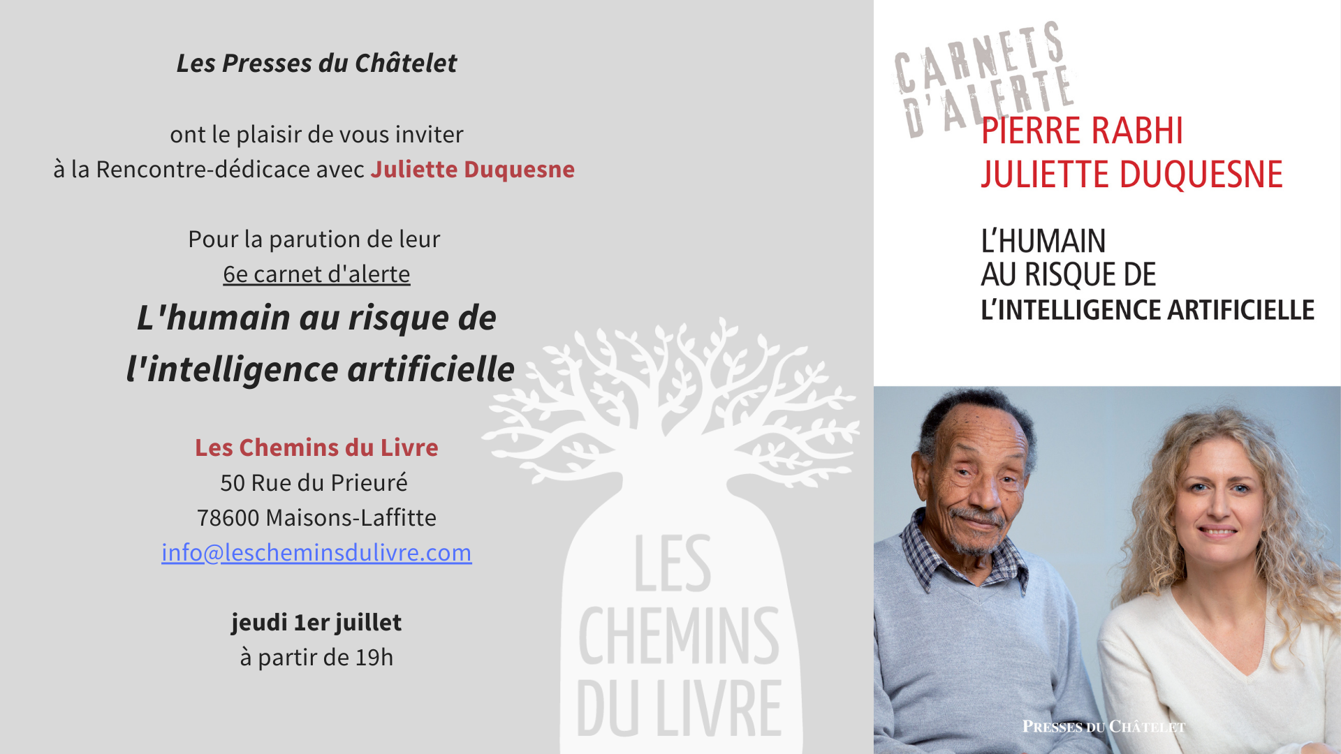 Rencontre-dédicace à  Maisons-Lafitte le 1er juillet!